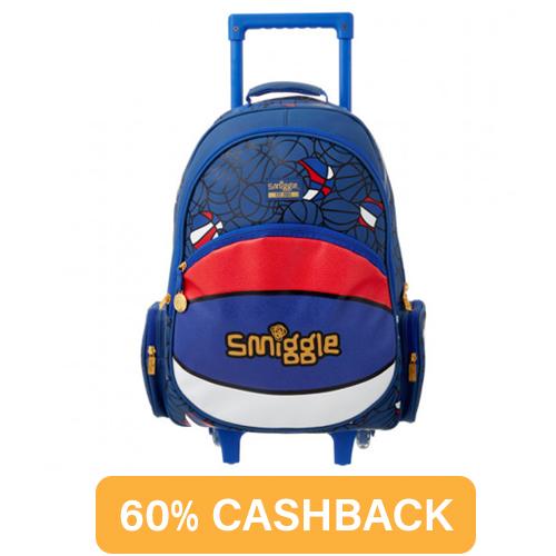 Smiggle Basketball Light Up Trolley Backpack Blue