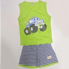 Fegottino Boys Sleeveless T-Shirt Set Smilly Car Leamon Green