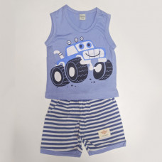 Fegottino Boys Sleeveless T-Shirt Set Smilly Car Sky Blue