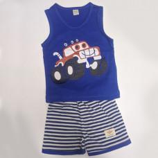 Fegottino Boys Sleeveless T-Shirt Set Smilly Car Navy Blue