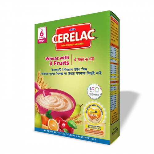 Nestlé Cerelac Stage 1 Wheat with 3 Fruits 6 months + 400 gm BIB