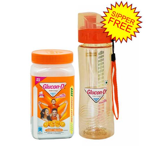 Glucon D Orange Energy Glucose Jar 400 gm (Water Bottle Free)