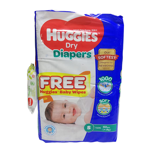 Huggies Small Belt Diaper 4-8Kg - 60 Pcs (Malaysia) with Free Wipes