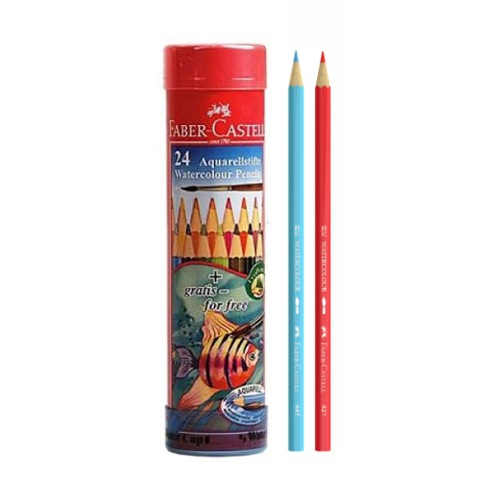 Faber-Castell Aquarellstifte Watercolor Pencils Long Tin 24 Pcs