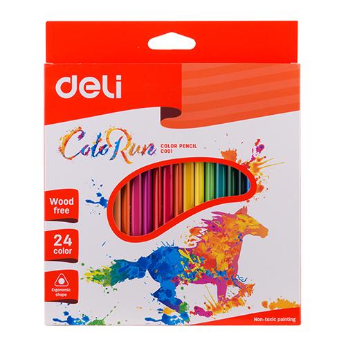 Deli Plastic Colored Pencil Triangle 24 Pcs