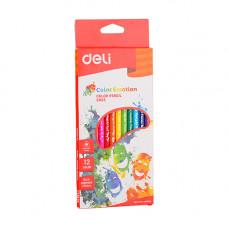 Deli Colored Pencil Triangle Soft 12 Pcs C002