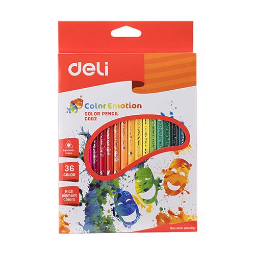 Deli Colored Pencil Triangle 36 Pcs