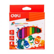 Deli Plastic Crayon Triangle 12 Pcs