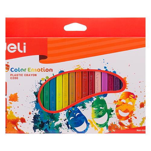 Deli Plastic Crayon Triangle Hands Clean 24 Pcs