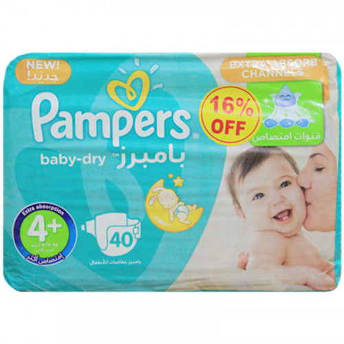 Pampers 4+ Belt Diaper 9-16Kg - 40 Pcs (Kingdom of Saudi Arabia)