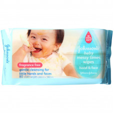 Johnson's Baby Messy Time Wipes 80 Pcs