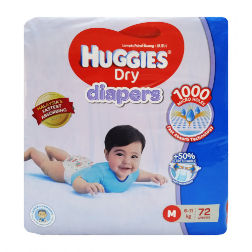 Huggies Medium Belt Diaper 6-11 Kg - 72 Pcs (Malaysia)