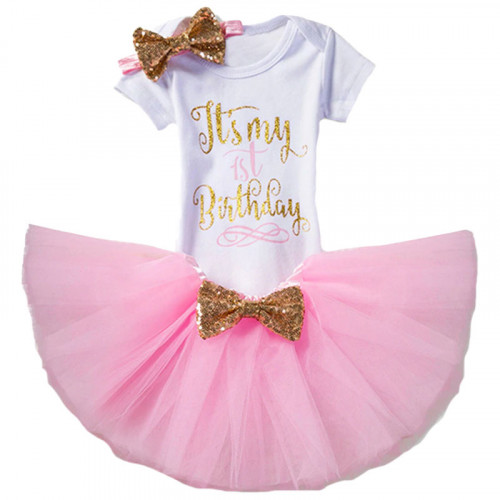 1 Year Baby Girl Dress It's My 1st Birthday Pink