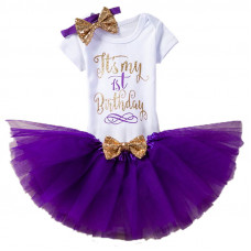 1 Year Baby Girl Dress It's My 1st Birthday Purple