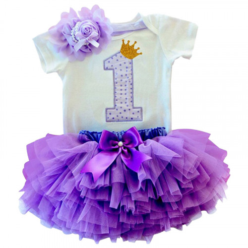 1 Year Baby Girl Dress Princess Girls: Purple Doted