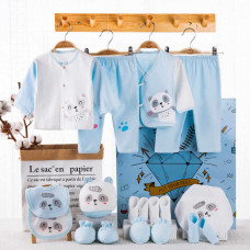 Newborn Baby Romper 18 Piece Set - Blue