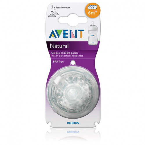 Philips Avent Natural Nipple 6m+ Fast Flow