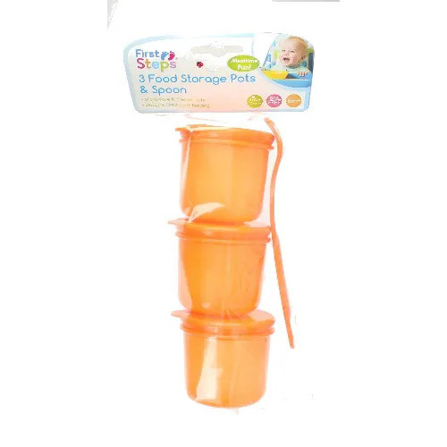 First Steps Food Storage Pot With Spoon: Orange