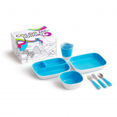 Munchkin Color Me Hungry Splash  Toddler Dining Set - Blue