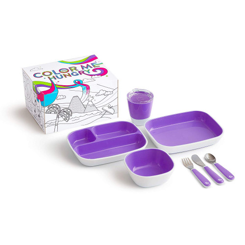 Munchkin Color Me Hungry Splash  Toddler Dining Set - Purple