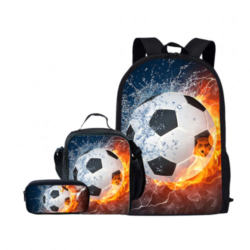 ForUDesigns Cartoon Football Backpack- Flame 3 Pcs/set