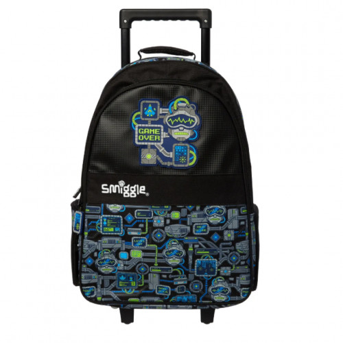 Smiggle Wizz Light Up Trolley Backpack Black