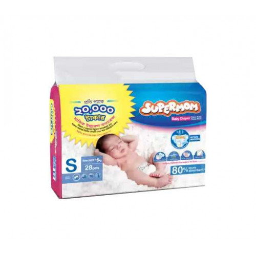 Supermom Diaper Belt Newborn to 8 Kg 28 Pcs (Buy Two Get One Free)