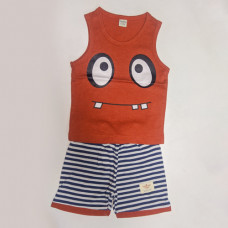 Fegottino Boys Sleeveless T-Shirt Set Cartoon Face Red