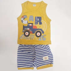 Fegottino Boys Sleeveless T-Shirt Set Boys Zone Yellow