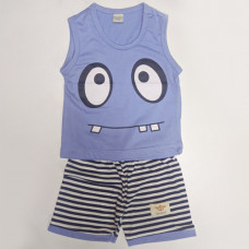 Fegottino Boys Sleeveless T-Shirt Set Cartoon Face Sky Blue