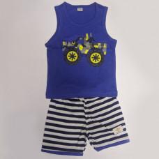 Fegottino Boys Sleeveless T-Shirt Set Monster Track Navy Blue