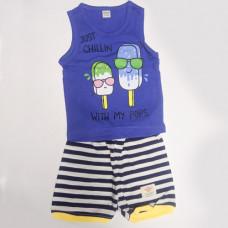 Fegottino Boys Sleeveless T-Shirt Set Just Chillin Navy Blue