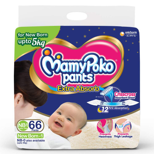 MamyPoko Pants Newborn 0-5 Kg 66 Pcs (Made in India)