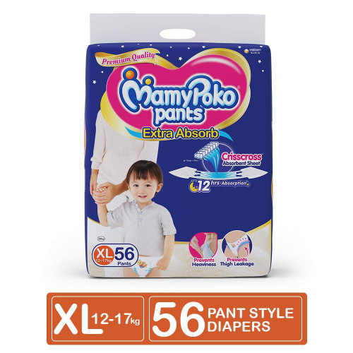 MamyPoko Pants XL 12-17 Kg 56 Pcs (Made in India)