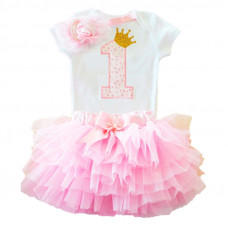 1 Year Baby Girl Dress Princess: Pink doted