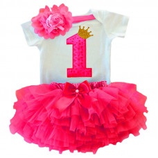 1 Year Baby Girl Dress Princess Girls: Red doted