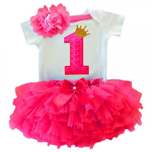 c1f611172f61e 1 Year Baby Girl Dress Princess Girls: Red doted