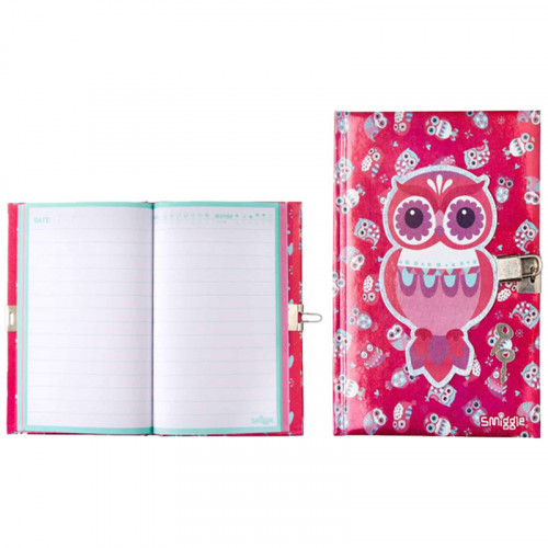 Smiggle A5 Chirpy Lockable Notebook: Pink