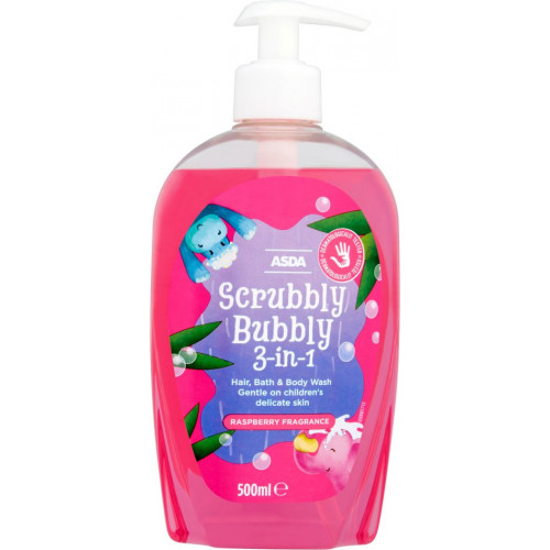 ASDA Scrubbly Bubbly 3-in-1 Raspberry Fragrance Hair, Bath & Body Wash