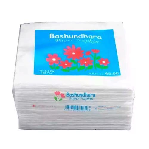 "Bashundhara Paper Napkins 13"" Unscented 100 pcs"